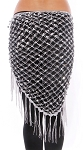 Crochet Net Shawl Scarf with Square Sequins & Fringe - SILVER / GREY