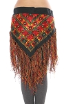 Embroidered Tribal Shisha Belt with Fringe - MULTI