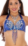 Beaded Satin Bra Top with Sequin Butterfly Design - BLUE