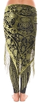 Velvet Medallion Shawl Hip Scarf with Fringe - OLIVE on BLACK