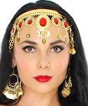 Arabesque Metal Head Piece with Coins & Jewels - GOLD / RED