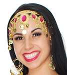 Arabesque Metal Head Piece with Coins & Jewels - GOLD / DARK PINK
