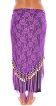 Tribal Gypsy Belly Dance Lace Shawl Hip Scarf with Coins & Fringe - PURPLE / GOLD