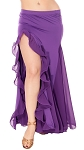 Egyptian Style Belly Dance Skirt with Ruffle Side Slit - PURPLE GRAPE