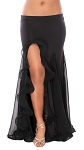 Egyptian Style Skirt with Ruffle Side Slit - BLACK