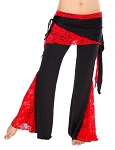 Tribal Fusion Belly Dance Pants with Lace Accents - BLACK / RED