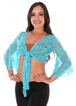 Lace Bell Sleeve Choli Top - TURQUOISE BLUE