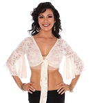 Lace Bell Sleeve Choli Belly Dance Top - IVORY