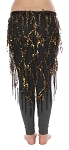 Elegant Sequin Fringe Mesh Belly Dance Hip Scarf - BLACK / GOLD