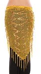 Elegant Sequin Fringe Mesh Belly Dance Hip Scarf - YELLOW / GOLD