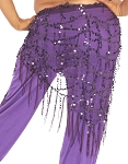 Elegant Sequin Fringe Mesh Belly Dance Hip Scarf - DARK PURPLE PLUM