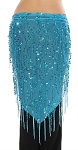Elegant Sequin Fringe Mesh Belly Dance Hip Scarf - BLUE TURQUOISE