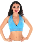 Swirl Studded Halter Dance Top - BLUE TURQUOISE / SILVER