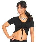 Stretchy Gathered Half Top - BLACK