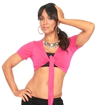 Comfy Short Sleeve Choli Dance Top - DARK PINK