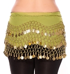 Chiffon Belly Dance Hip Scarf with Beads & Coins - AVOCADO GREEN / GOLD