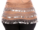 Plus Size 1X - 4X Chiffon Belly Dance Hip Scarf with Coins - MOCHA / SILVER
