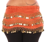 Plus Size 1X - 4X Chiffon Belly Dance Hip Scarf with Coins - ORANGE / GOLD