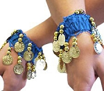 Chiffon Stretch Bracelets with Beads & Coins (PAIR): AZURE BLUE / GOLD