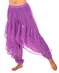 Endless Wave Bollywood Ruffle Belly Dance Harem Pants - PURPLE / GOLD
