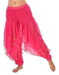 Endless Wave Bollywood Ruffle Belly Dance Harem Pants - ROSE PINK / GOLD