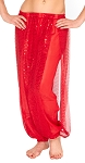 Harem Pants with Shiny Sequin Dot Panels - RED