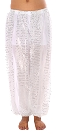 Harem Pants with Shiny Sequin Dot Panels - SILVER / WHITE