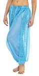 Harem Pants with Shiny Sequin Dot Panels - BLUE TURQUOISE