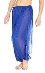 Harem Pants with Shiny Sequin Dot Panels - BLUE