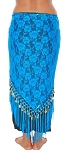 Tribal Gypsy Lace Shawl Hip Scarf with Coins & Fringe - BLUE TURQUOISE / GOLD