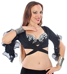 Ruffle Sleeve Belly Dance Spanish Fusion Tribal Choli Top - BLACK