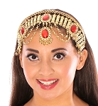 Arabian Nights Belly Dance Costume Headband with Faux Jewels - RED