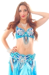 Art Deco Professional Belly Dance Costume Set with Beads & Rhinestones - TURQUOISE / BLUE