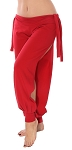 Comfortable Stretch Harem Pants with Side Ties & Slits - RED