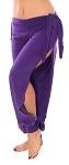 Comfortable Stretch Harem Pants with Side Ties & Slits - DARK PURPLE