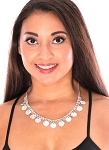 Single Row Classic Belly Dance Coin Necklace - SILVER