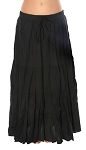 7 Yard Cotton Tribal Gypsy Belly Dance Skirt - BLACK
