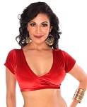 Short Sleeve Velvet Tribal Choli Top - RED - size S/M
