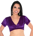 Short Sleeve Velvet Tribal Choli Top - DARK PURPLE PLUM