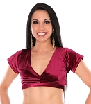 Short Sleeve Velvet Tribal Choli Top - BURGUNDY