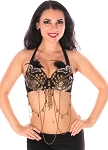 Masquerade Belly Dance Costume Bra - BLACK
