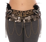 Masquerade Belly Dance Costume Belt - BLACK / SILVER / BRONZE