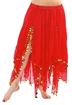 Chiffon Belly Dance Skirt with Paillettes - RED
