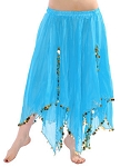 Chiffon Belly Dance Skirt with Paillettes - BLUE TURQUOISE