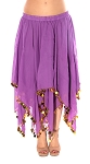 Chiffon Belly Dancer Costume Skirt with Paillettes - PURPLE / GOLD
