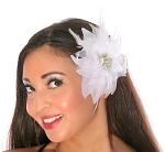 Hair Flower with Feather Accents - WHITE