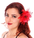 Hair Flower with Feather Accents - RED