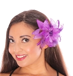 Hair Flower with Feather Accents - PURPLE