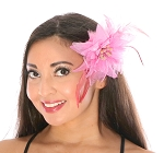Hair Flower with Feather Accents - PINK