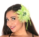 Hair Flower with Feather Accents - LIME